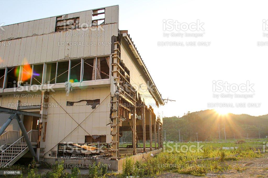 Japan Tsunami Earthquake 2011  Yoshihama Elementary School stock photo