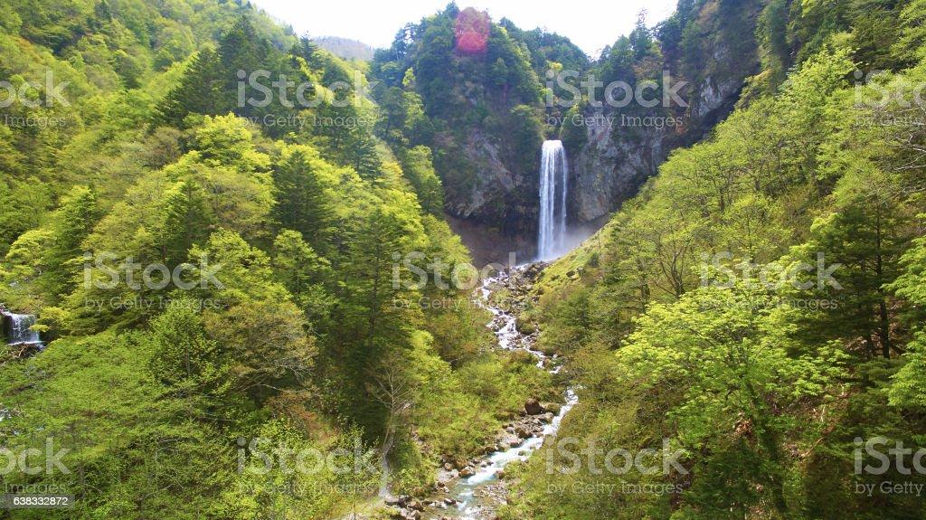 japan waterfall - aerial view stock photo