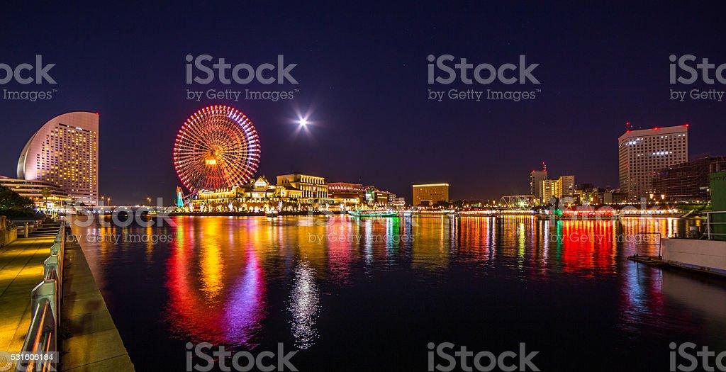 Japan Yokohama at starry night with full moon stock photo