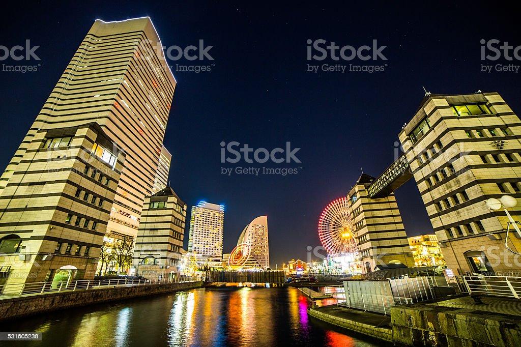 Japan Yokohama Minato Mirai at starry night stock photo