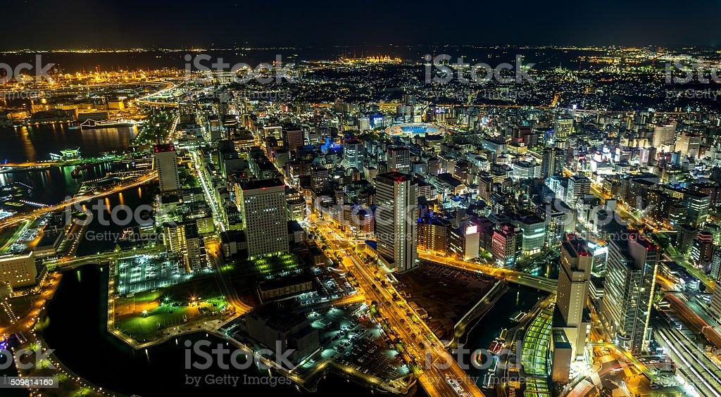 Japan Yokohama Panorama at night stock photo