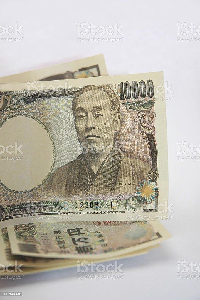 Japanese 10000 yen bills royalty-free stock photo