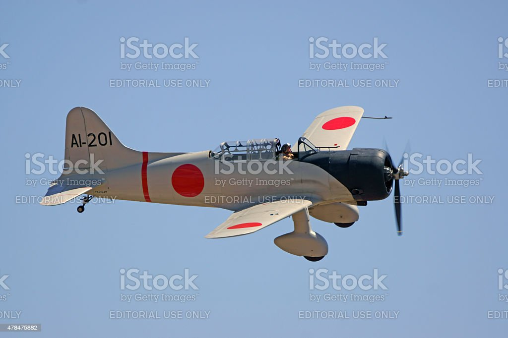 WWII Japanese Airplane flying at Air Show stock photo
