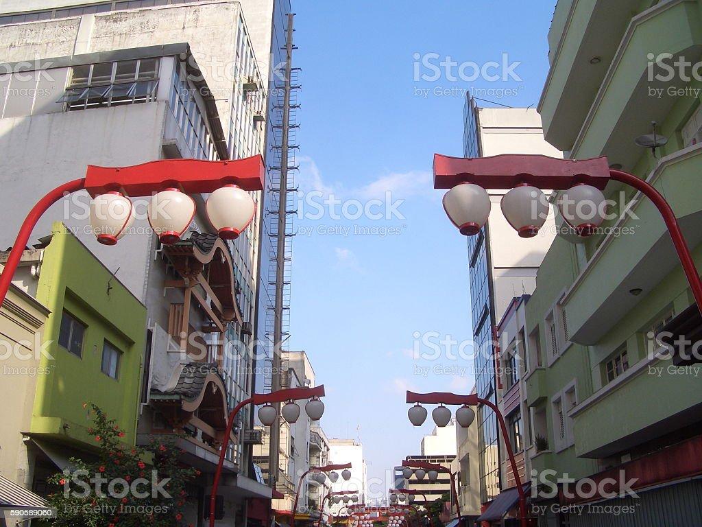 Japanese and Asian immigrants Neighborhood Liberdade in Sao Paulo, Brazil stock photo