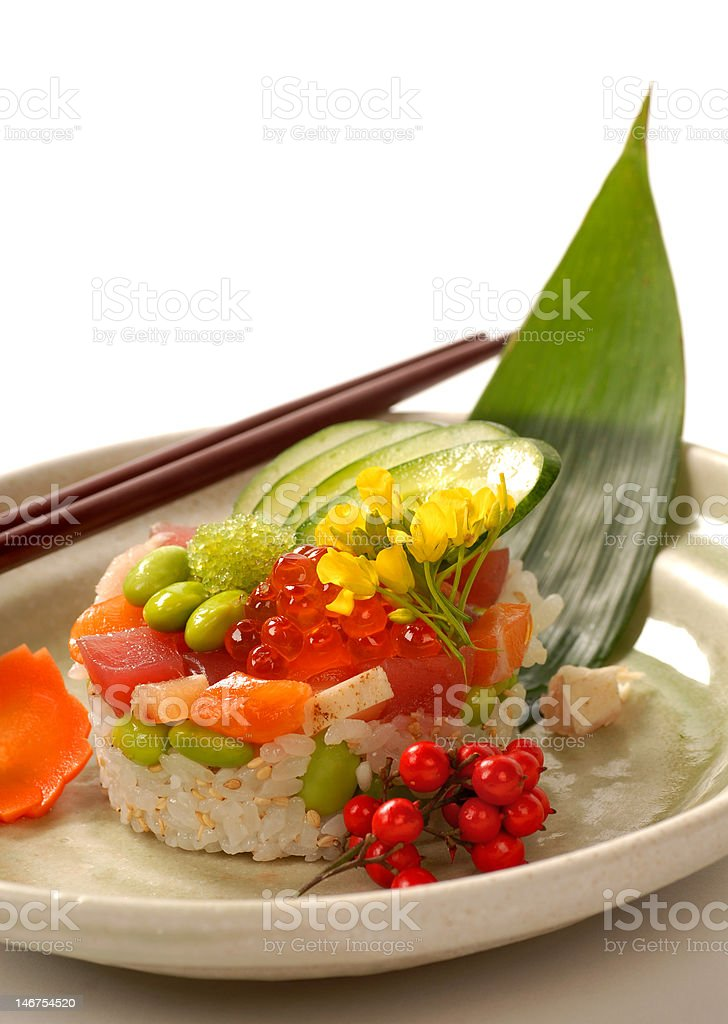 Japanese appetizer with tuna, rice and vegetables royalty-free stock photo