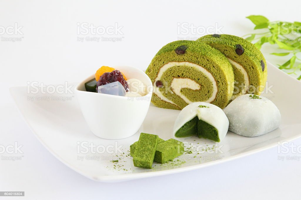 Japanese Assorted Green Tea Matcha Taste Sweets stock photo
