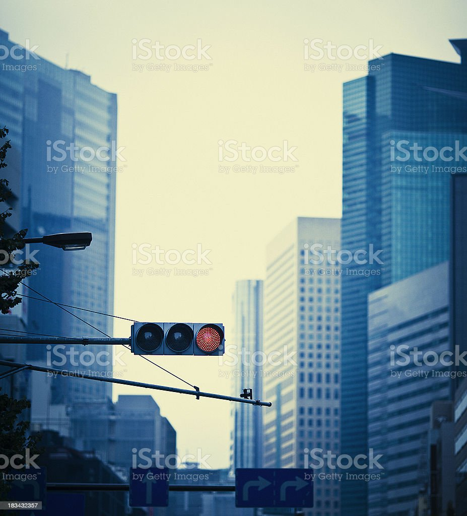 japanese avenue traffic red ligth stock photo