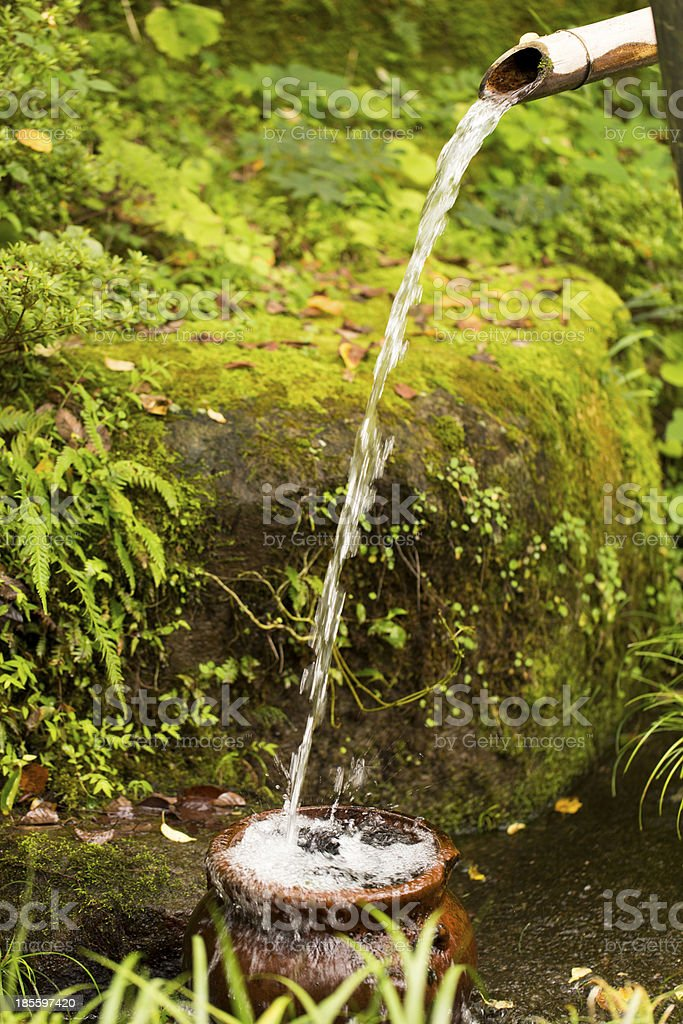 Japanese Bamboo Water Fountain stock photo