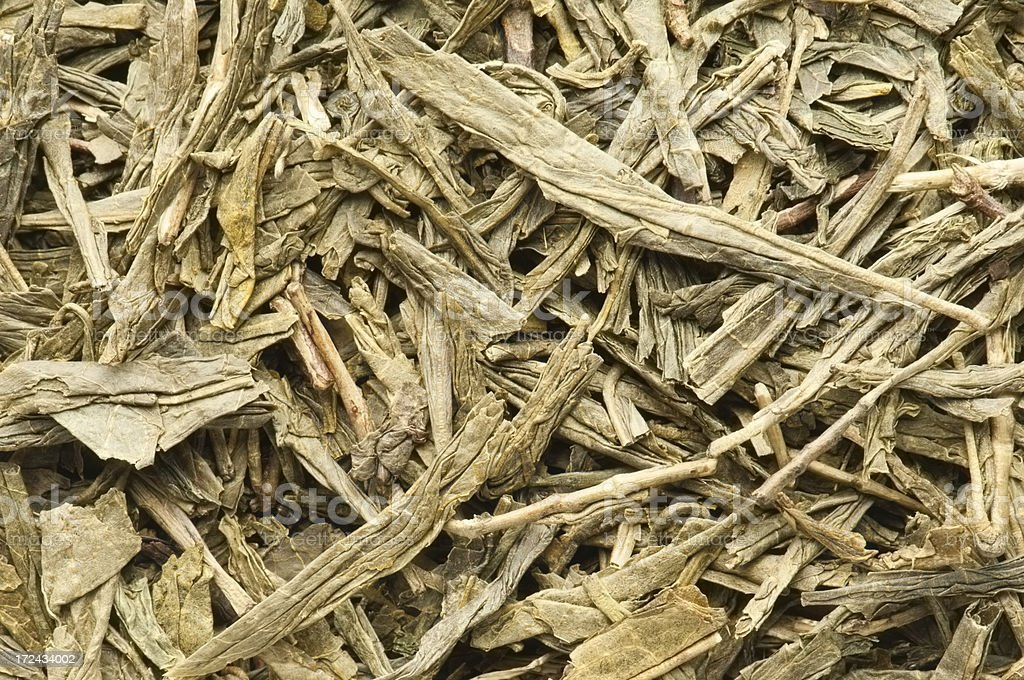 Japanese Bancha Green tea leaves background from overhead stock photo