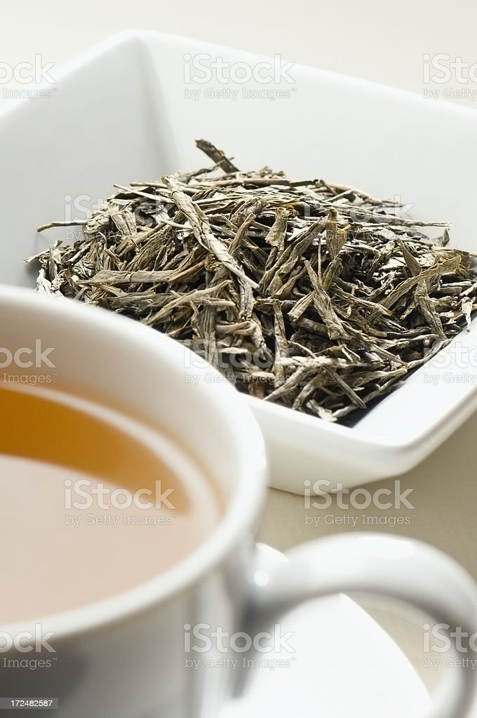Japanese Bancha Green tea leaves behind cup of tea stock photo