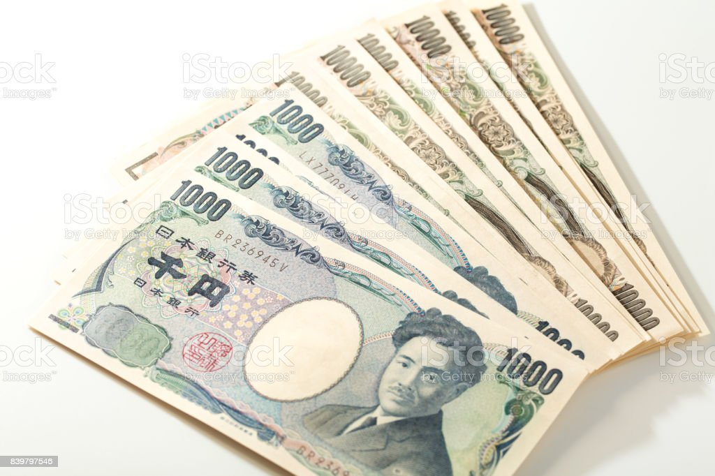 Japanese bank note 10000 yen and 1000 yen stock photo