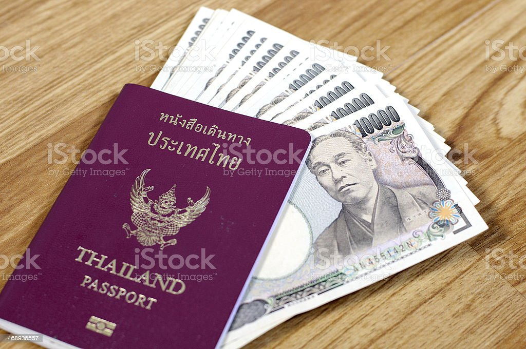 Japanese banknotes in Thailand passport stock photo