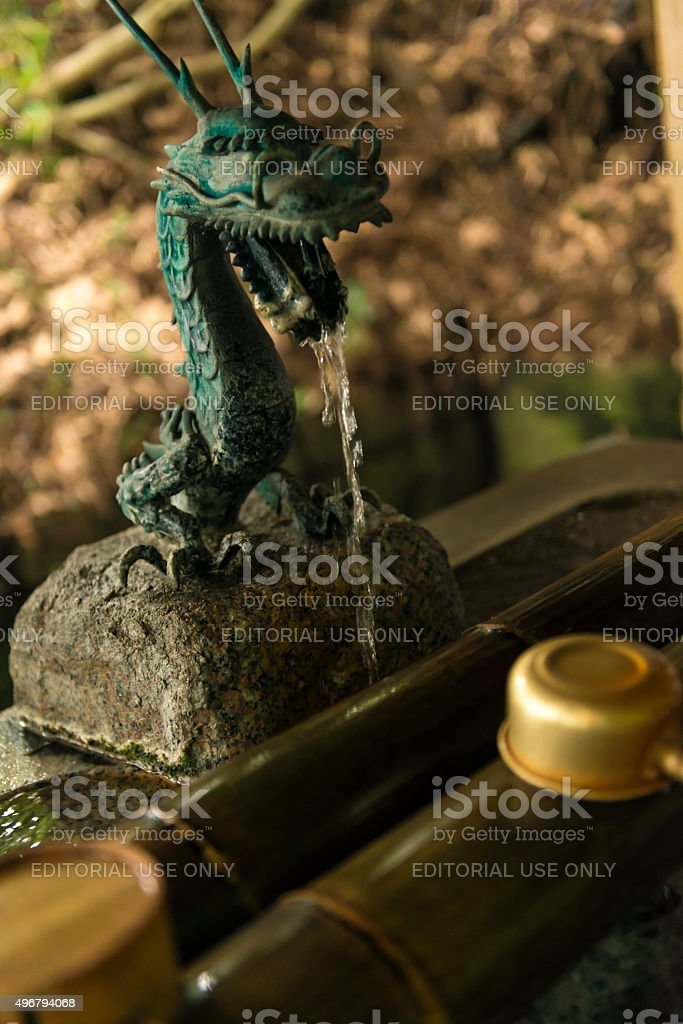 Japanese basin for rinsing hands stock photo