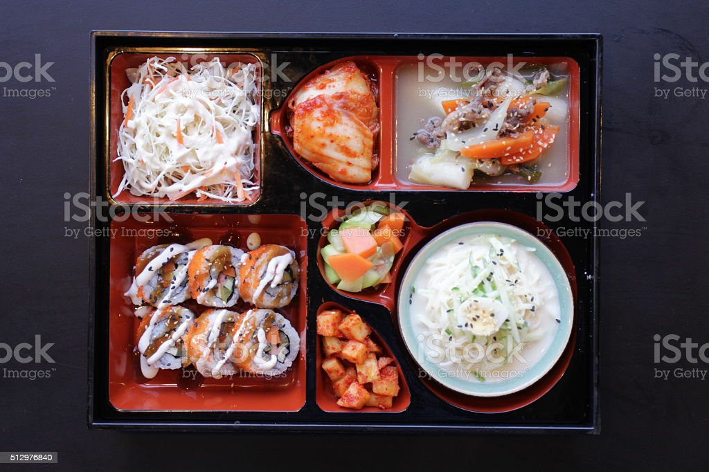 Japanese Bento Lunch .box of fast food with smoked eel stock photo