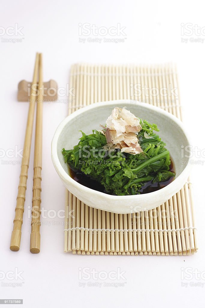 Japanese blanched leafy green side dish royalty-free stock photo