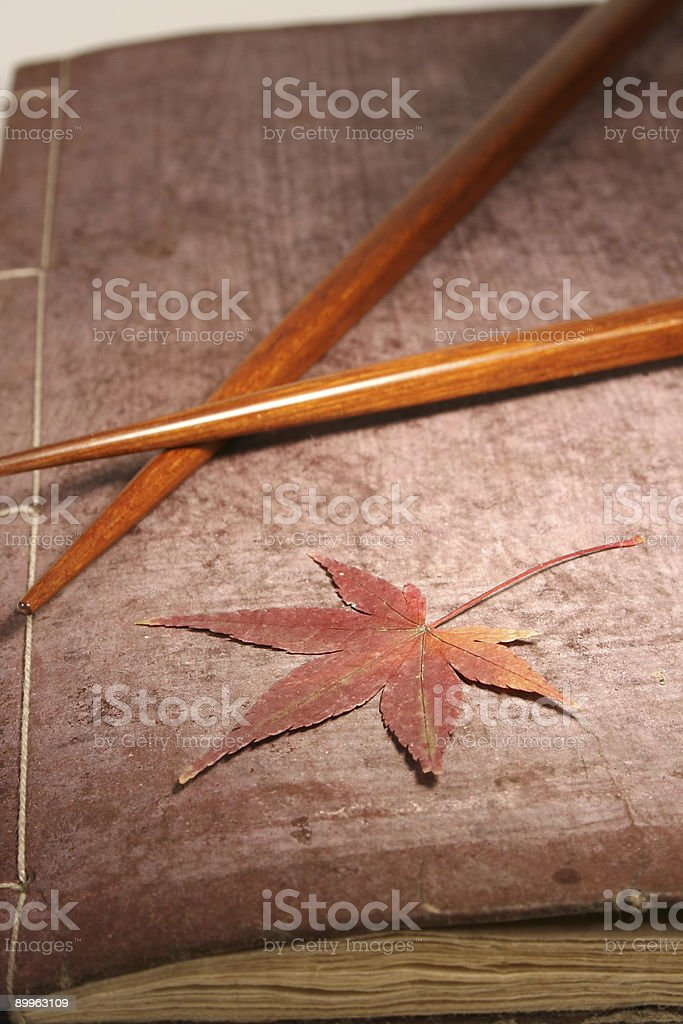 Japanese Book with Maple stock photo
