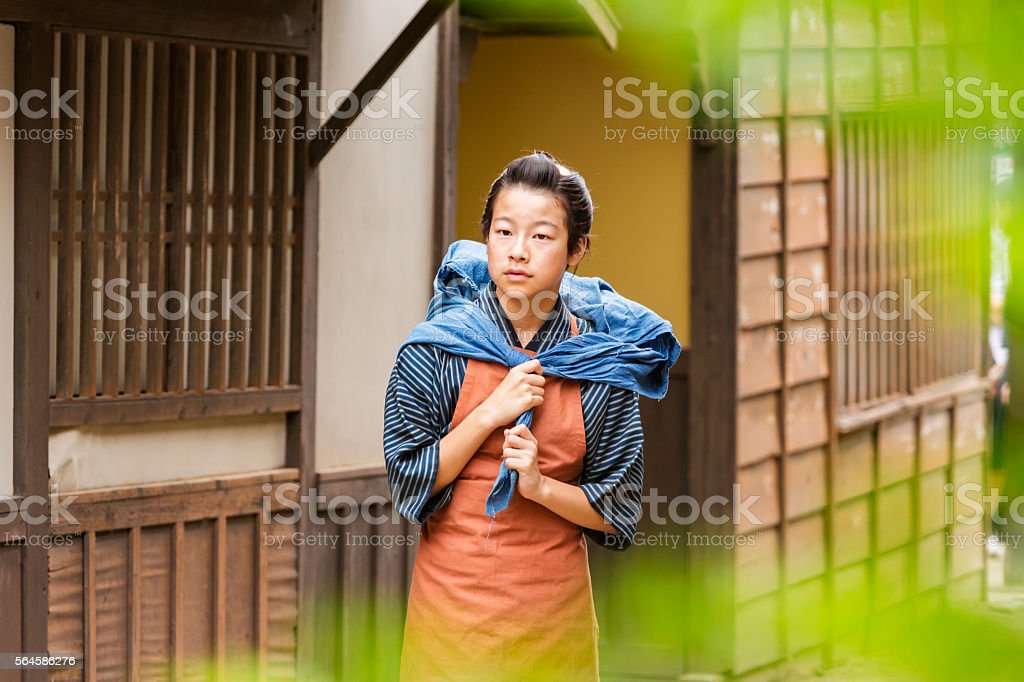 Japanese Boy Dressed in Traditional Clothes stock photo