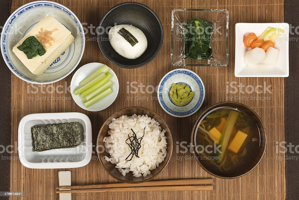 Japanese breakfast on wood dining table royalty-free stock photo