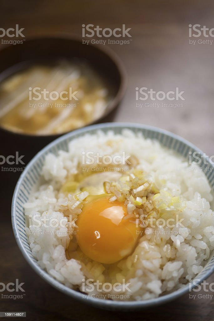 Japanese breakfast Tamago kake gohan (卵かけご飯) royalty-free stock photo