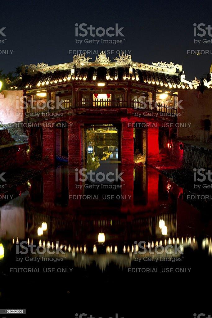 Japanese bridge at night, Hoi an, Vietnam royalty-free stock photo