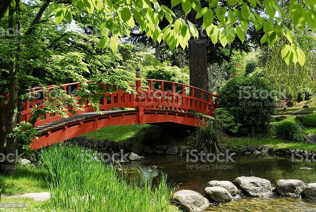 japanese bridge royalty-free stock photo
