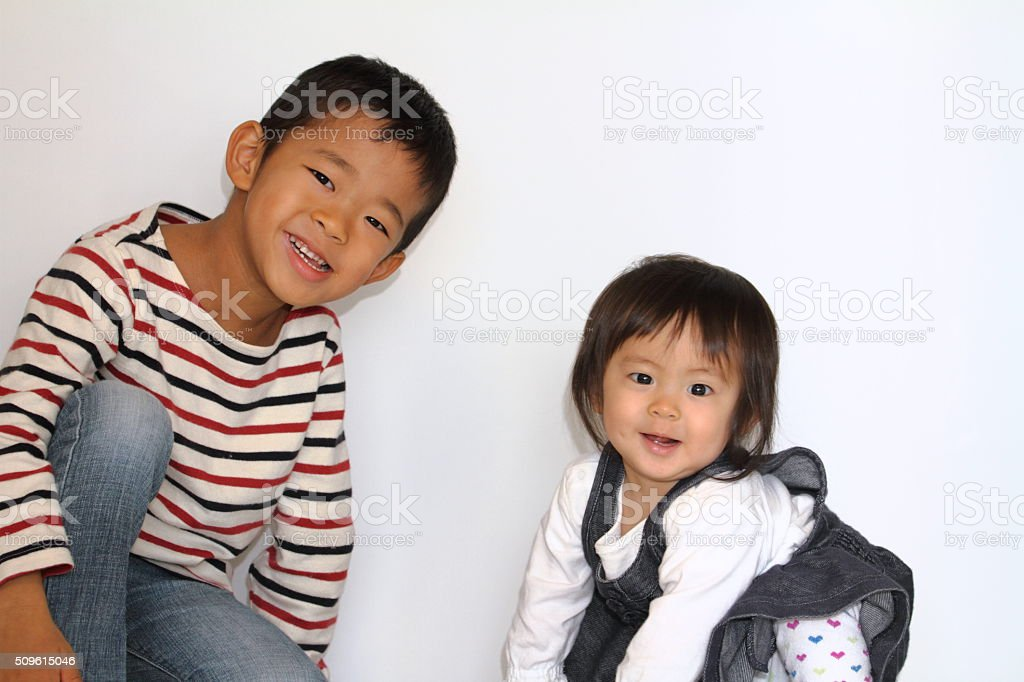 Japanese brother and sister stock photo