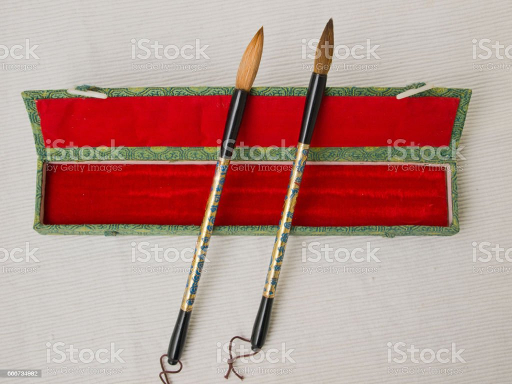 Japanese brushes for calligraphy stock photo