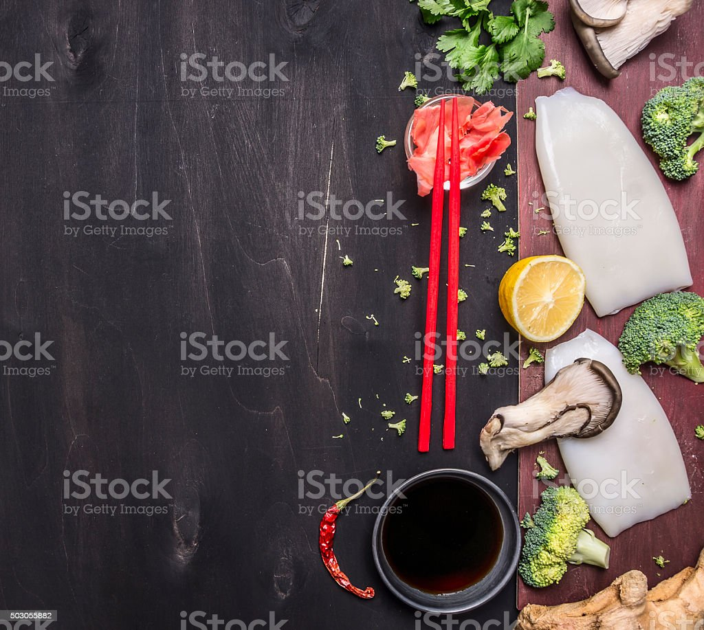 Japanese buckwheat noodles with oyster mushrooms, place for text stock photo