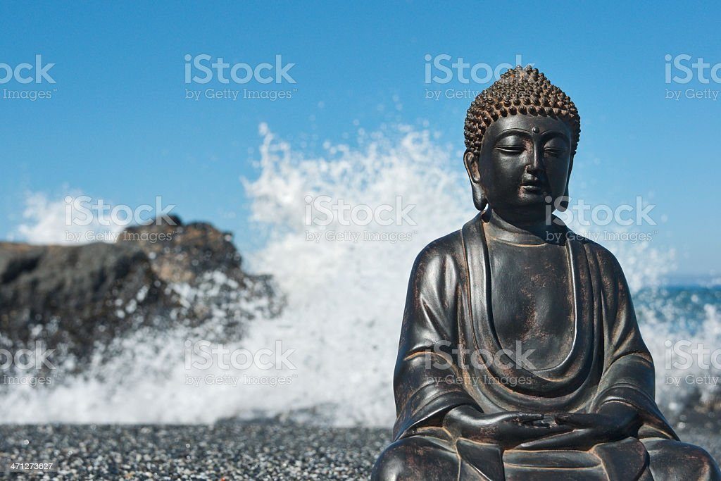 Japanese Buddha Statue at Ocean Shore royalty-free stock photo