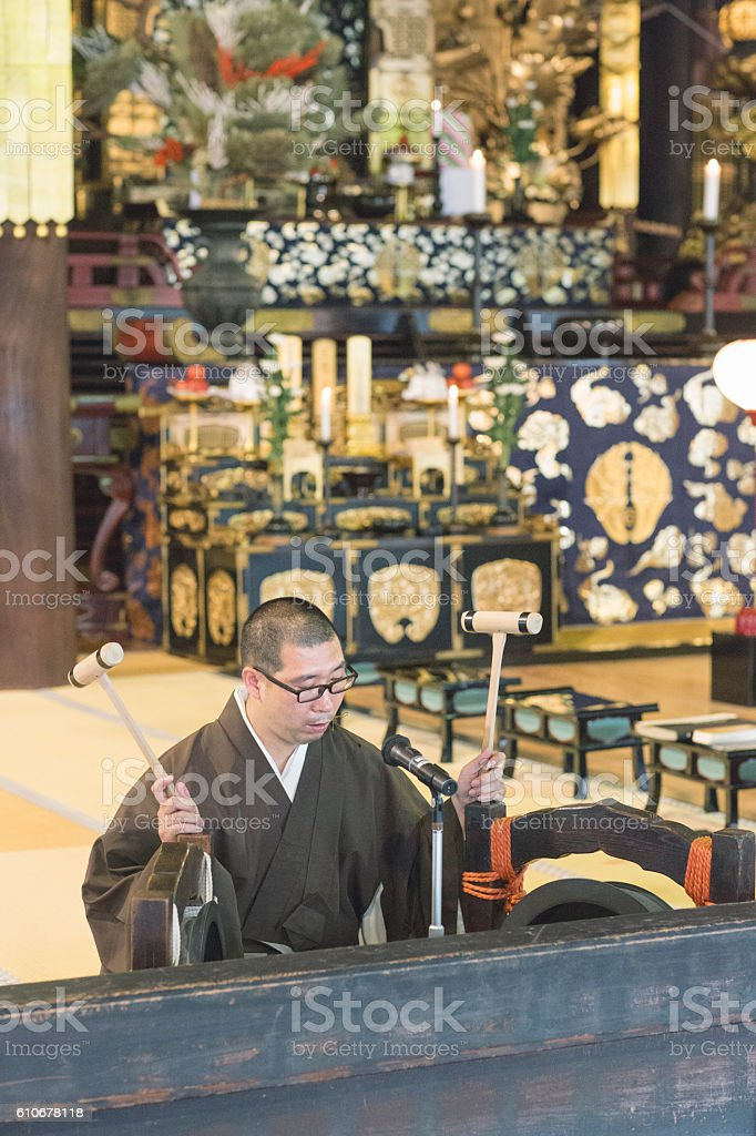 Japanese Buddhist Priest stock photo