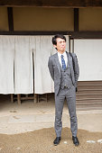 Japanese business person with suit at kyoto japan