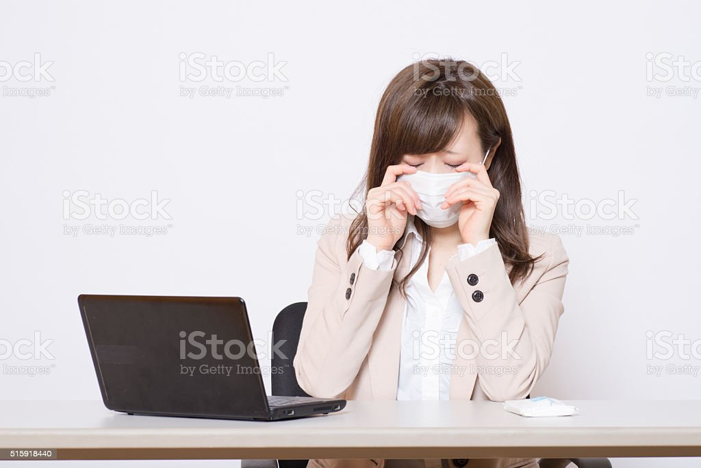 Japanese business women have a mask stock photo