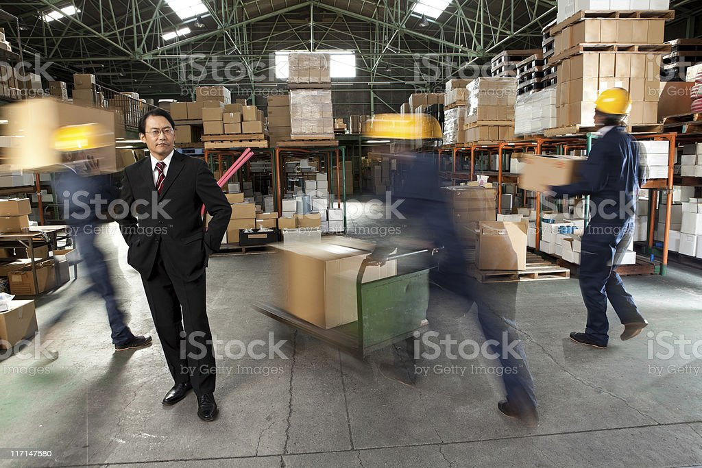 Japanese Businessman and workers stock photo