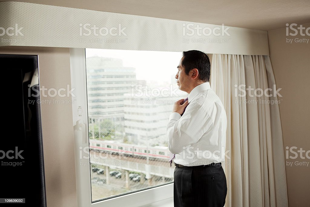 Japanese Businessman in Hotel stock photo