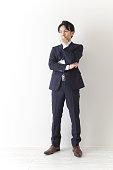 Japanese businessman thinking