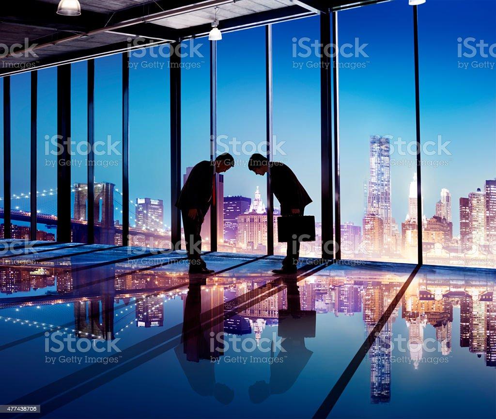 Japanese Businessmen Having a Business Agreement stock photo
