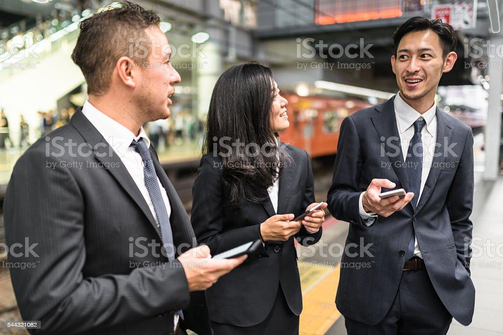 japanese Businessmen on the street of Osaka stock photo