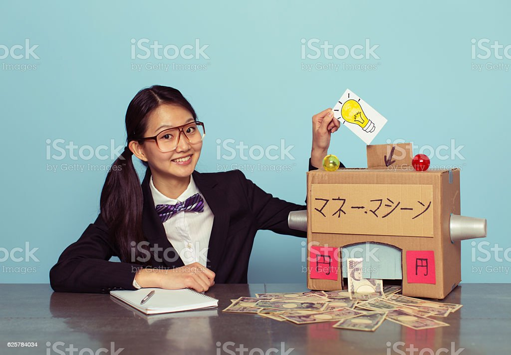 Japanese Businesswoman Makes Japanese Yen stock photo