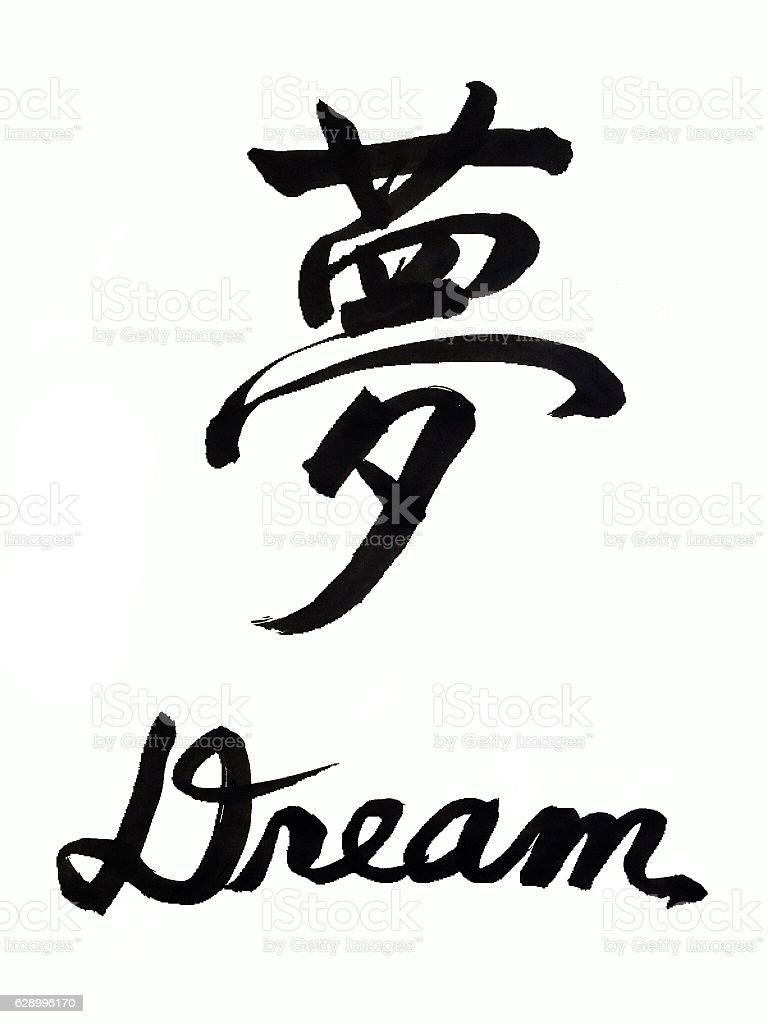 Japanese calligraphy dream in japanese kanji stock photo Japanese calligraphy online