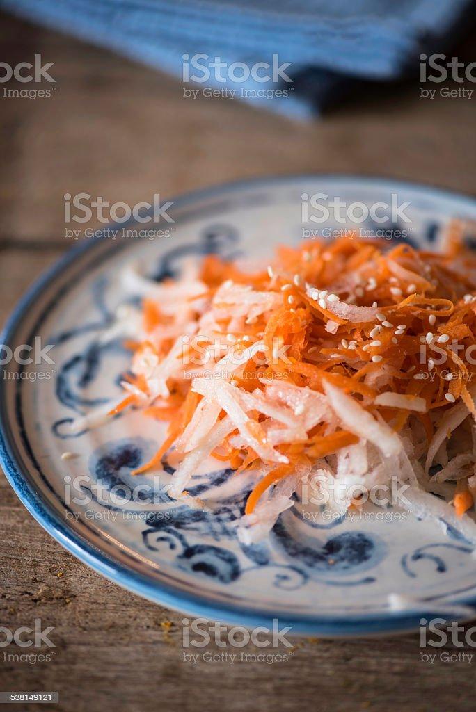 Japanese Carrot and Daikon Salad stock photo
