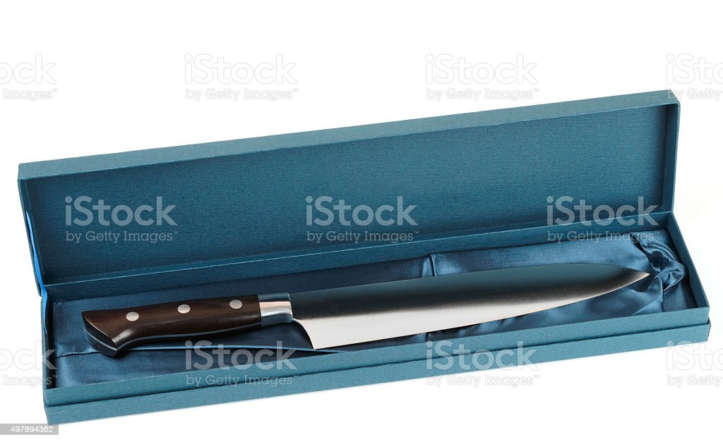 Japanese chef's knife in gift box, isolated stock photo