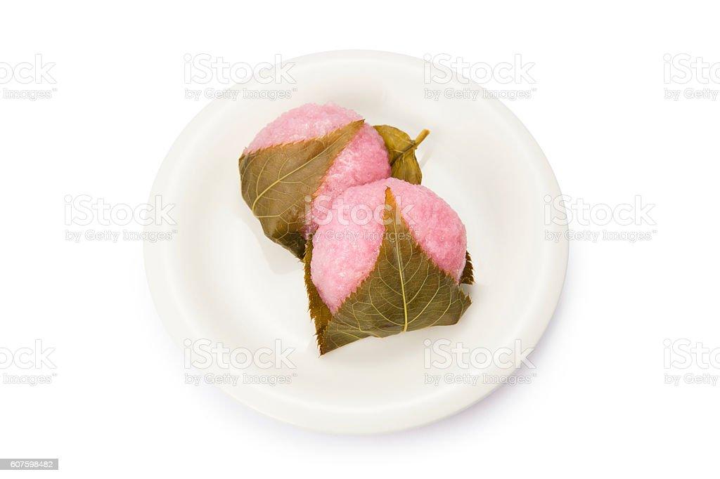 Japanese cherry blossom sticky rice cake stock photo