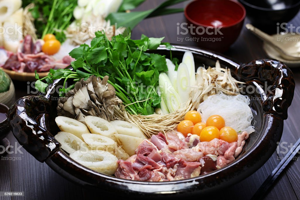 japanese chicken hot pot cuisine stock photo