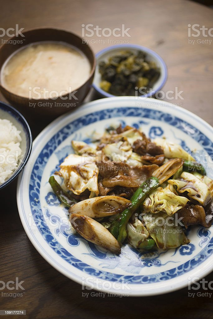 Japanese Chinese cuisine Hoi Kō Rō (回鍋肉 Twice cooked pork) royalty-free stock photo