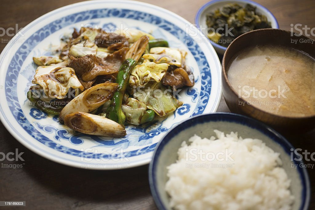 Japanese Chinese cuisine Hoi K? R? (Twice cooked pork) royalty-free stock photo
