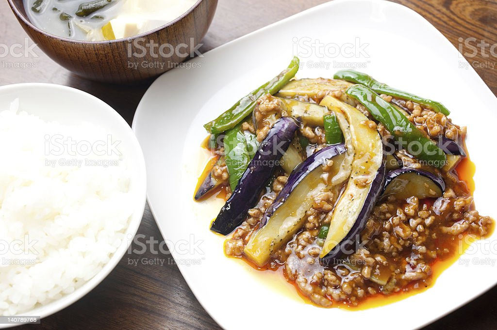 Japanese Chinese cuisine Mābō nasu (麻婆茄子:Mapo eggplant) stock photo