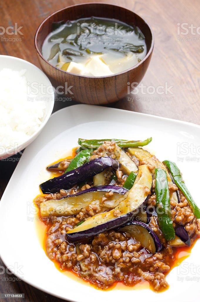 Japanese Chinese cuisine Mābō nasu (Mapo eggplant) stock photo