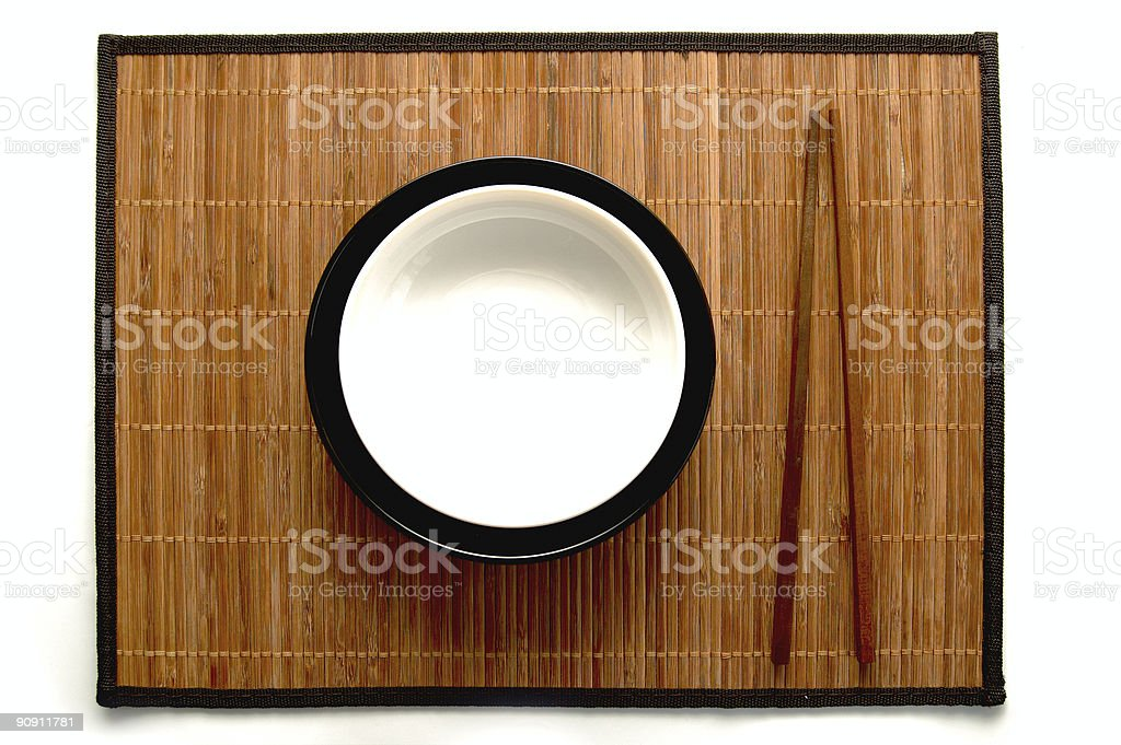 Japanese chopsticks and dish on white royalty-free stock photo