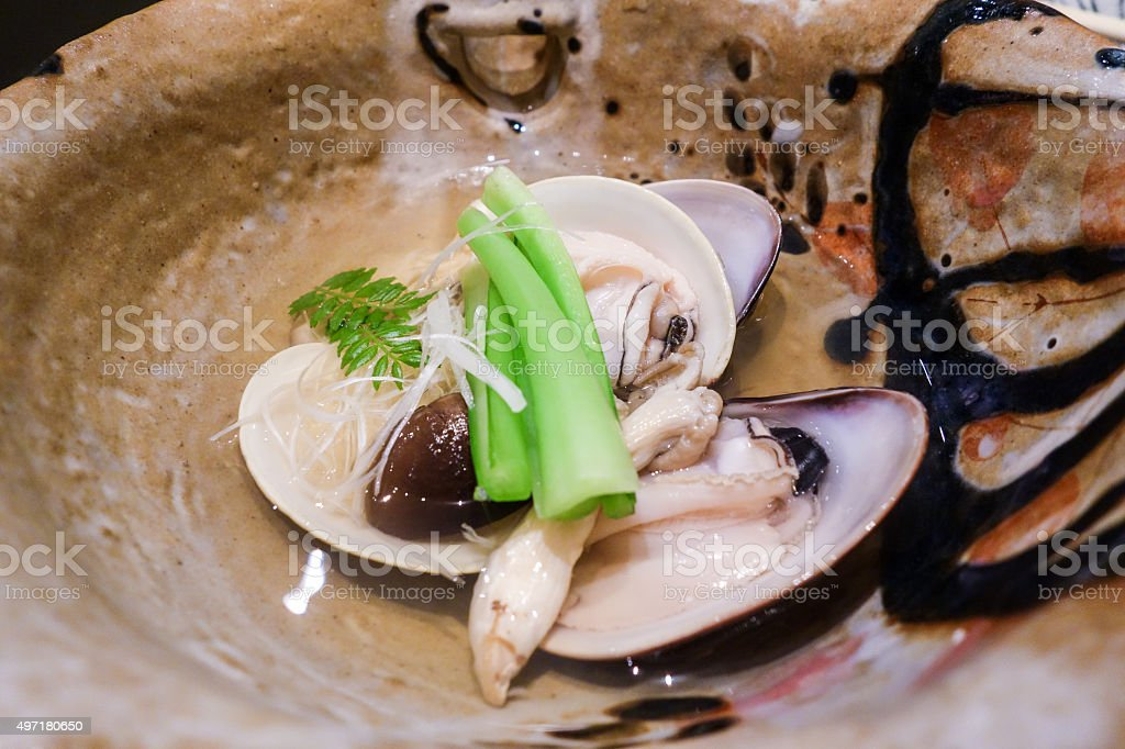 Japanese Clam in Soup stock photo