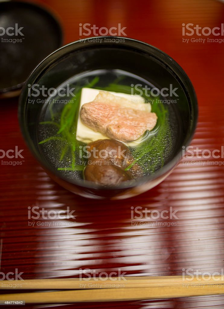Japanese clear Duck soup stock photo